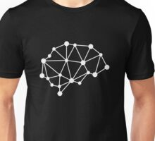 Transhuman Brain - White on Black Unisex T-Shirt