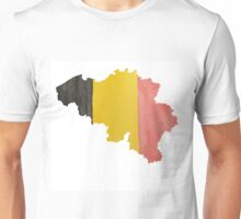 Belgium Country Outline in National Flag Belgian Tricolore Black, Yellow and Red Unisex T-Shirt