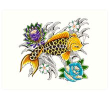 Swimming Koi on White Art Print