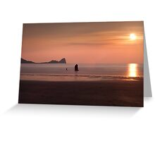 Pastel Sunset at Rhossili Bay Greeting Card