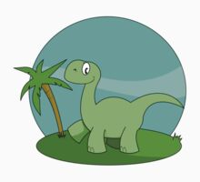 Cartoon Brontosaurus Kids Tee