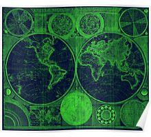 World Map (1794) Blue & Green  Poster