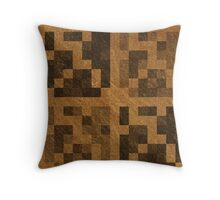 Wood Pixel Blocks  Throw Pillow
