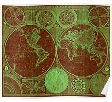 World Map (1794) Red & Light Green  Poster