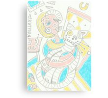 Cubism girl with cat Canvas Print