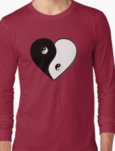 Ying Yang Heart (Bordered) Long Sleeve T-Shirt