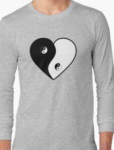 Ying Yang Heart (Bordered) Long Sleeve T-Shirt