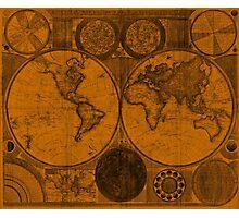 World Map (1794) Orange & Black  Photographic Print
