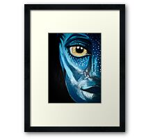 Blue oil pastel inspired by Avatar Framed Print