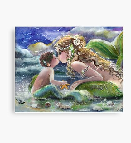 Mermaid and Mermboy on the Beach Canvas Print