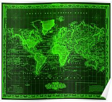 Vintage Map of The World (1833) Black & Green  Poster