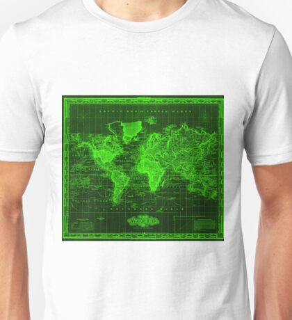 Vintage Map of The World (1833) Black & Green  Unisex T-Shirt