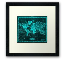 Vintage Map of The World (1833) Black & Light Blue Framed Print