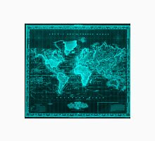 Vintage Map of The World (1833) Black & Light Blue Unisex T-Shirt