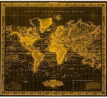 Vintage Map of The World (1833) Black & Orange  Photographic Print