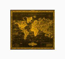 Vintage Map of The World (1833) Black & Orange  Unisex T-Shirt