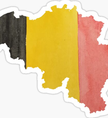 Belgium Country Outline in National Flag Belgian Tricolore Black, Yellow and Red Sticker