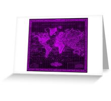 Vintage Map of The World (1833) Black & Purple  Greeting Card