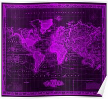 Vintage Map of The World (1833) Black & Purple  Poster