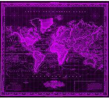 Vintage Map of The World (1833) Black & Purple  Photographic Print