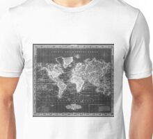 Vintage Map of The World (1833) White & Black Unisex T-Shirt