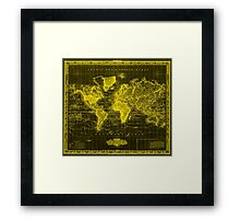 Vintage Map of The World (1833) Black & Yellow Framed Print