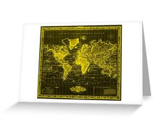 Vintage Map of The World (1833) Black & Yellow Greeting Card