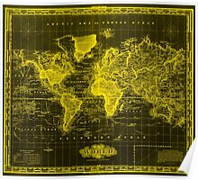 Vintage Map of The World (1833) Black & Yellow Poster