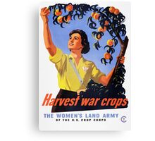 Women's Land Army Harvesting WW2 Canvas Print