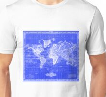 Vintage Map of The World (1833) Blue & White Unisex T-Shirt