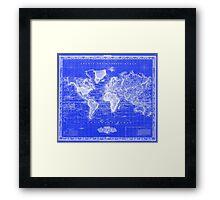 Vintage Map of The World (1833) Blue & White Framed Print