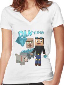 DanTDM The Diamond Minecart - Minecraft Youtuber Women's Fitted V-Neck T-Shirt
