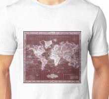 Vintage Map of The World (1833) Dark Red & White  Unisex T-Shirt