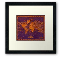Vintage Map of The World (1833) Purple & Orange  Framed Print