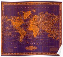 Vintage Map of The World (1833) Purple & Orange  Poster