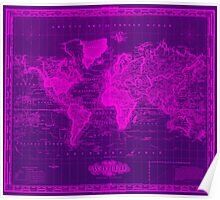 Vintage Map of The World (1833) Purple & Pink Poster