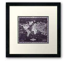 Vintage Map of The World (1833) Purple & White  Framed Print