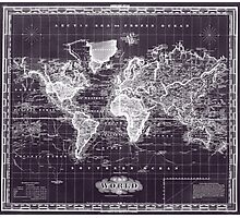 Vintage Map of The World (1833) Purple & White  Photographic Print