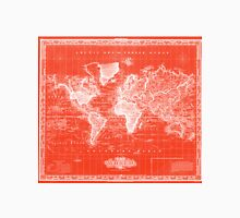 Vintage Map of The World (1833) Red & White Unisex T-Shirt