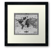 Vintage Map of The World (1833) White & Black Framed Print