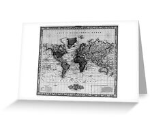 Vintage Map of The World (1833) White & Black Greeting Card