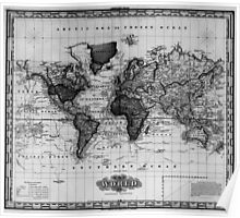 Vintage Map of The World (1833) White & Black Poster