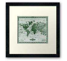 Vintage Map of The World (1833) White & Green  Framed Print