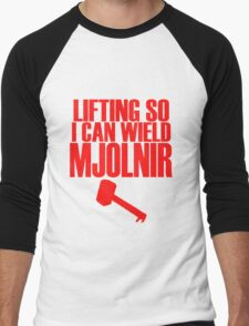 Lifting to Wield Mjolnir Men's Baseball ¾ T-Shirt