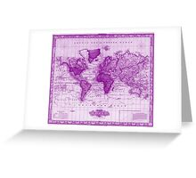 Vintage Map of The World (1833) White & Purple Greeting Card