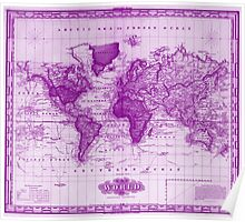 Vintage Map of The World (1833) White & Purple Poster