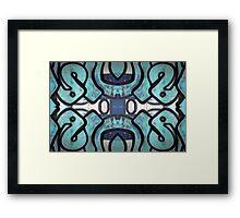 Blue Graffiti Design Framed Print