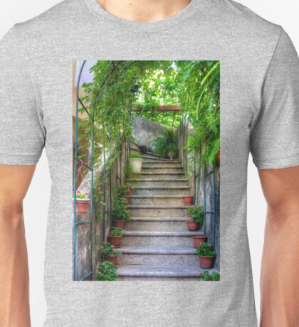Potted plants and a dog on the steps Unisex T-Shirt