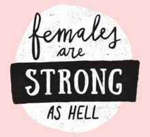 Females Are Strong As Hell | Pink Kids Tee