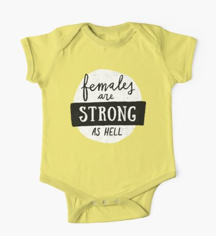 Females Are Strong As Hell   Pink One Piece - Short Sleeve
